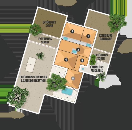 Plan du domaine la Clausade - location de charme