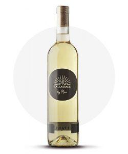 Bouteille de vin blanc en conversion bio